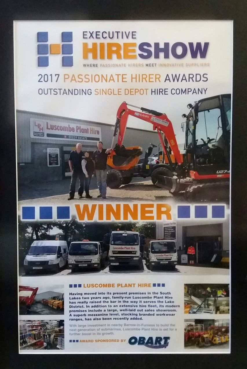 Hire Award Luscombe Plant Hire